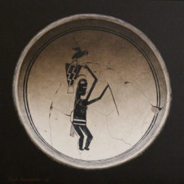 mimbres_bowl_with_woman_burden_basket_and_parrot-rock_newcomb-legacy_gallery